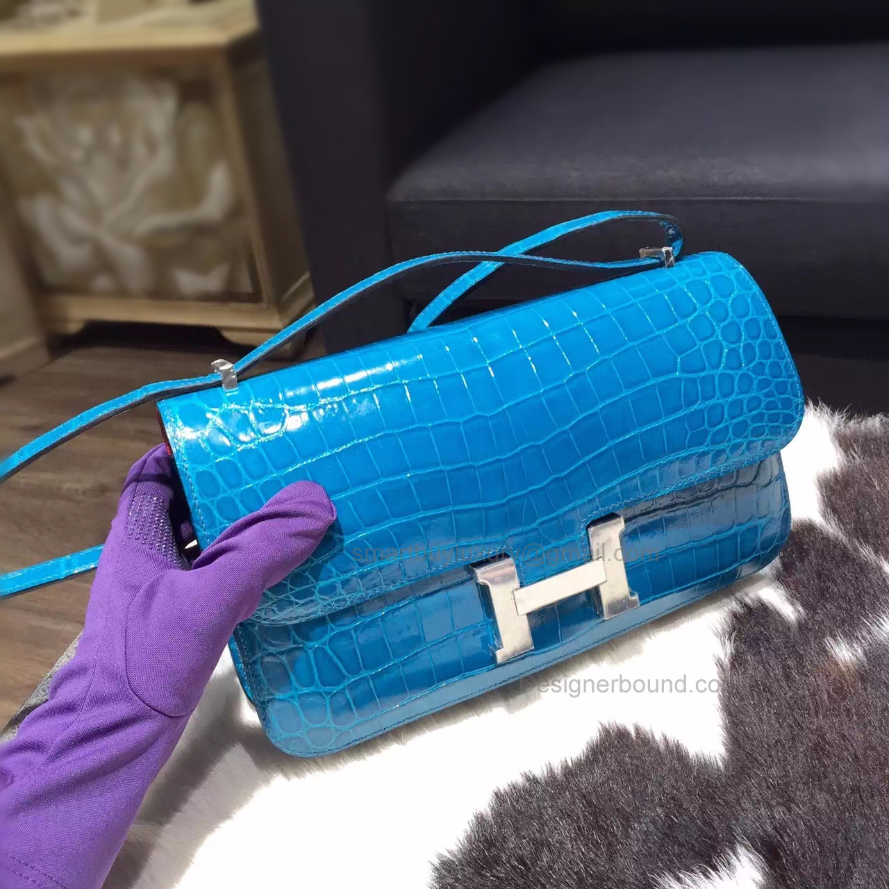 Hermes Constance Elan 25 Bag in 7w Blue Izmir Shining Niloticus Crocodile PHW