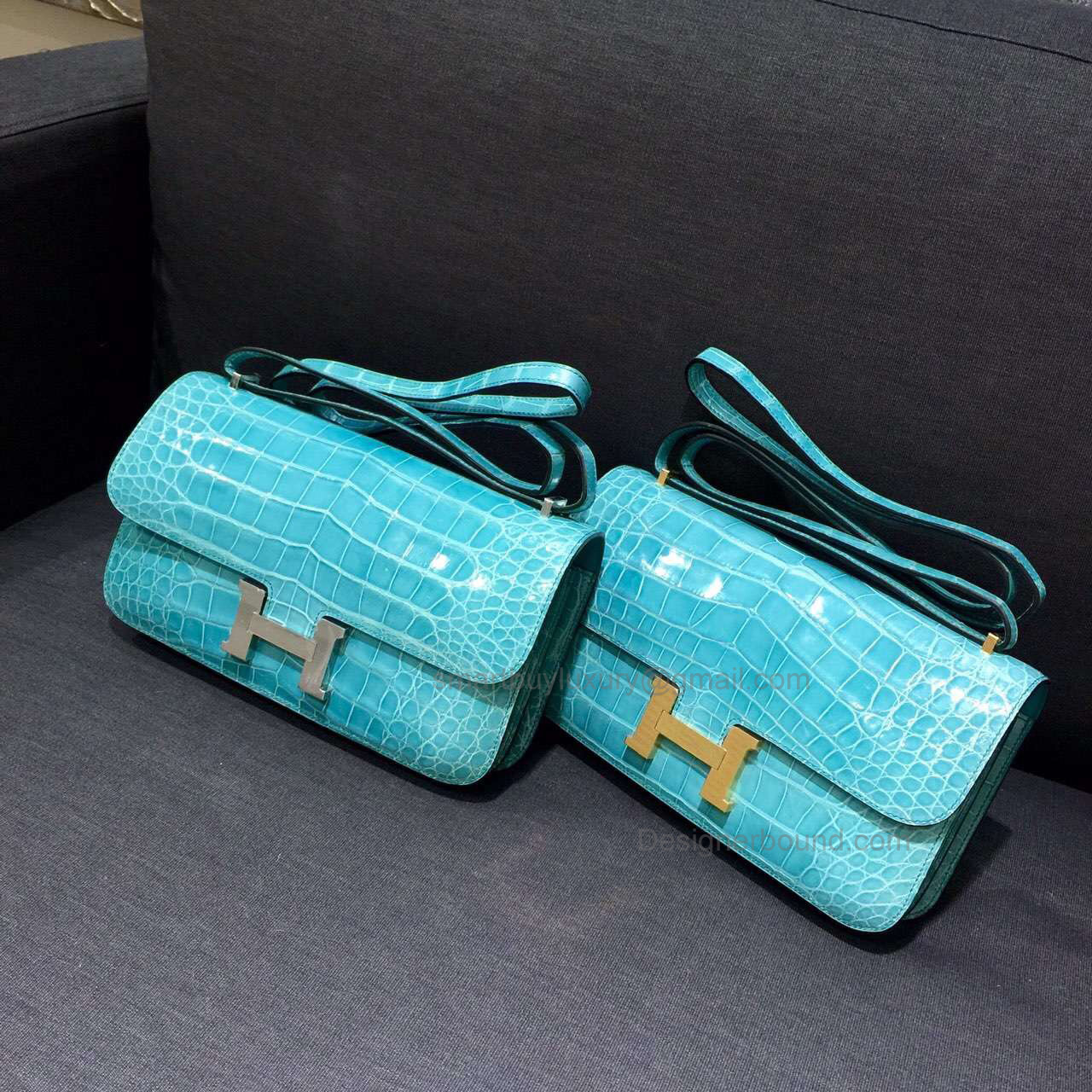 Copy Hermes Constance Elan 25 Bag in 7b Turquoise Blue Shining Nile Crocodile