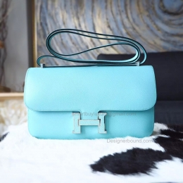 Hermes Constance Elan 25 Bag Hand Stitched in 3p Blue Atoll Epsom Calfskin PHW