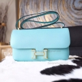 Hermes Constance Elan 25 Bag Hand Stitched in 3p Blue Atoll Epsom Calfskin GHW