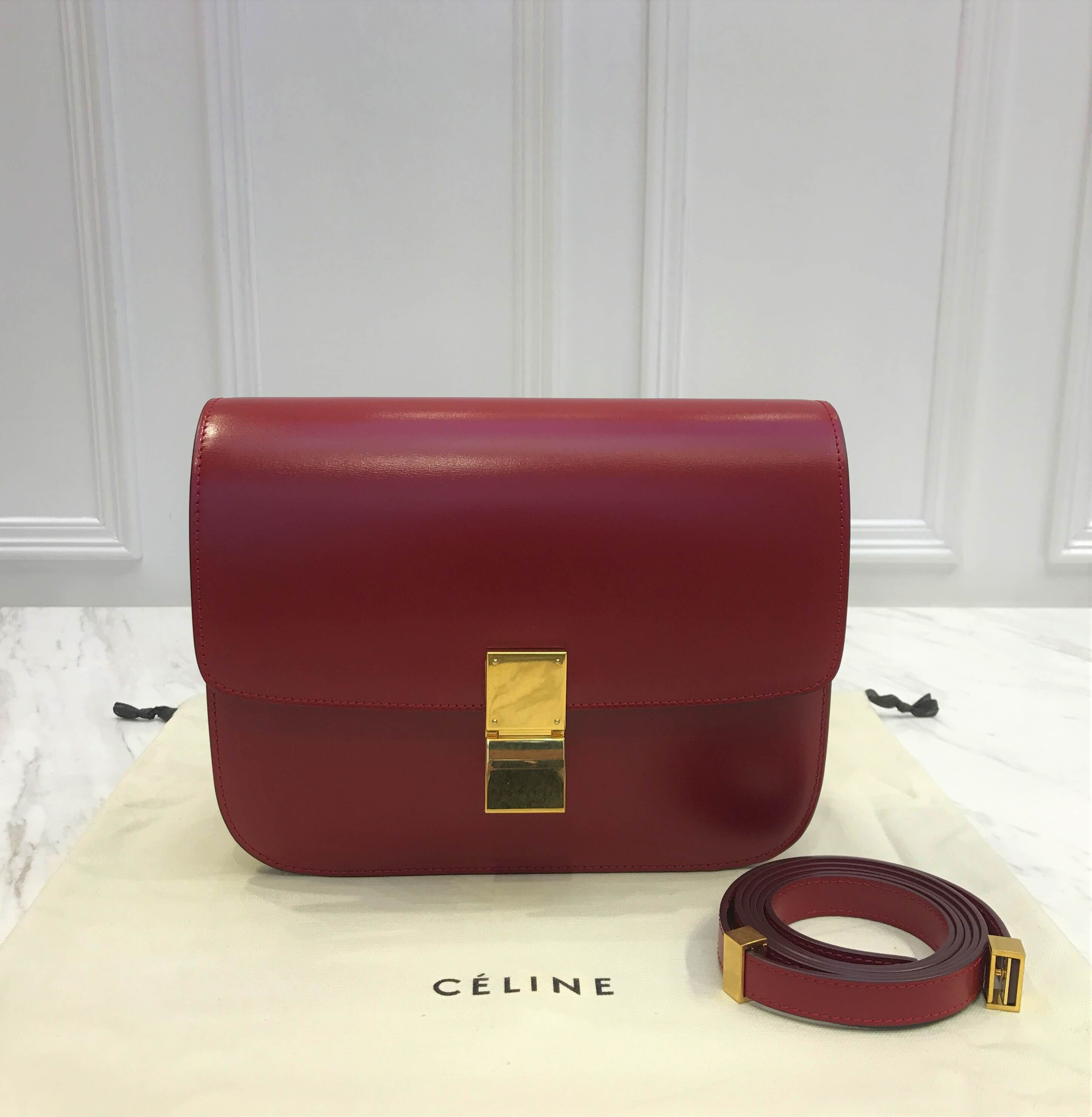 Celine Classic Box Bag Medium in Dark Red Liege Calfskin