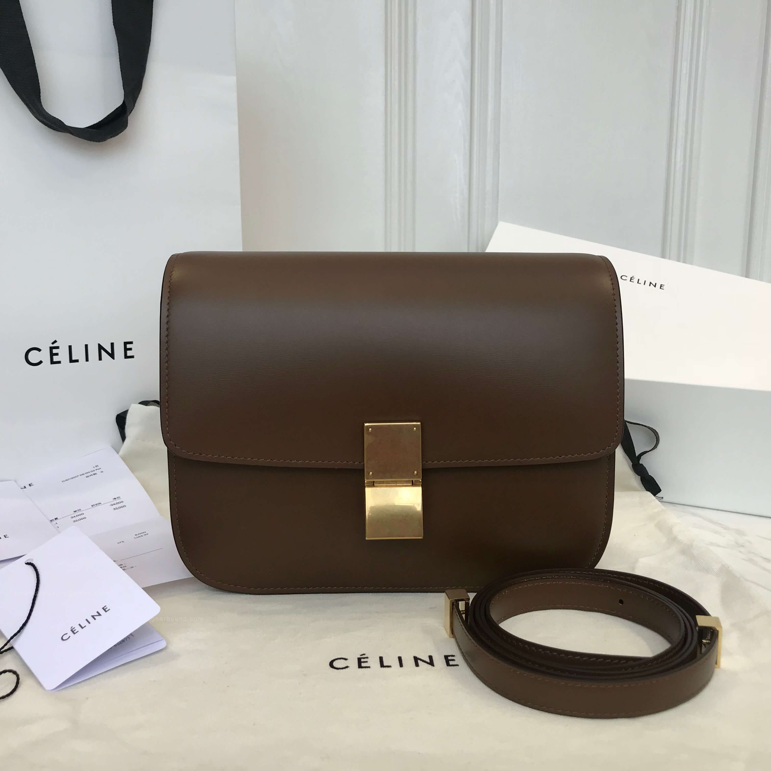 Celine Classic Box Bag Medium in Khaki Liege Calfskin