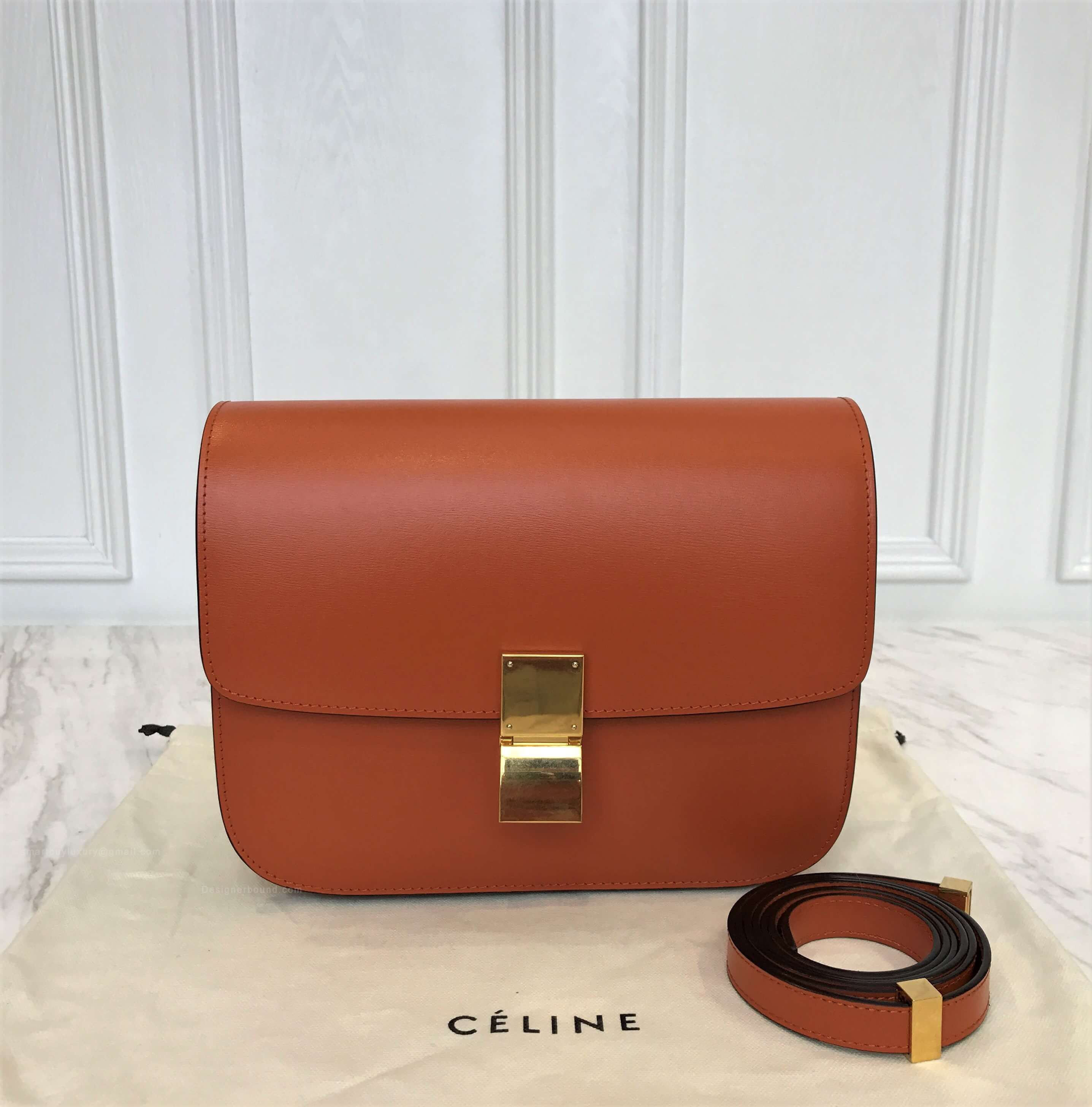 Celine Classic Box Bag Medium in Tawny Liege Calfskin