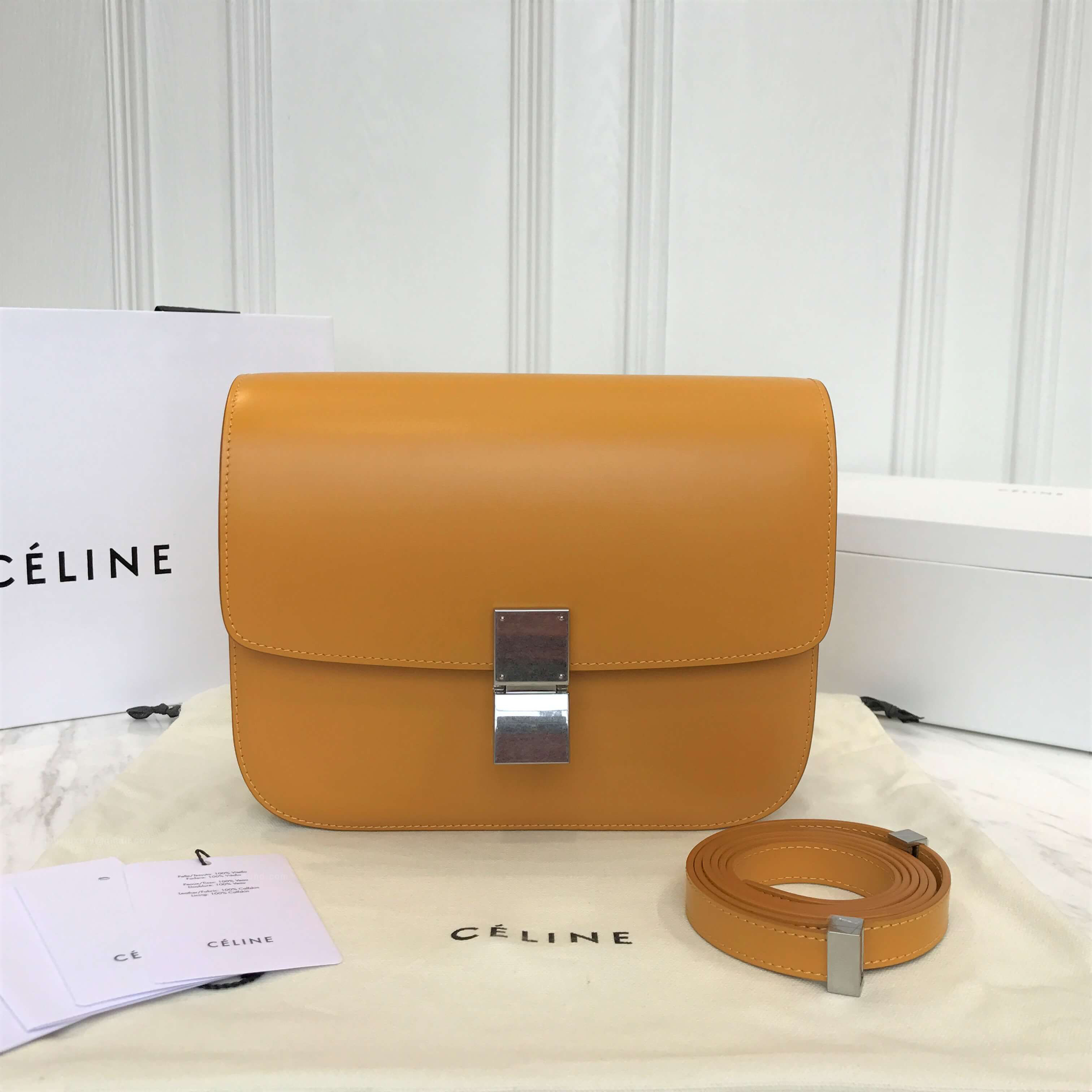 Celine Classic Box Bag Medium in Sunflower Liege Calfskin