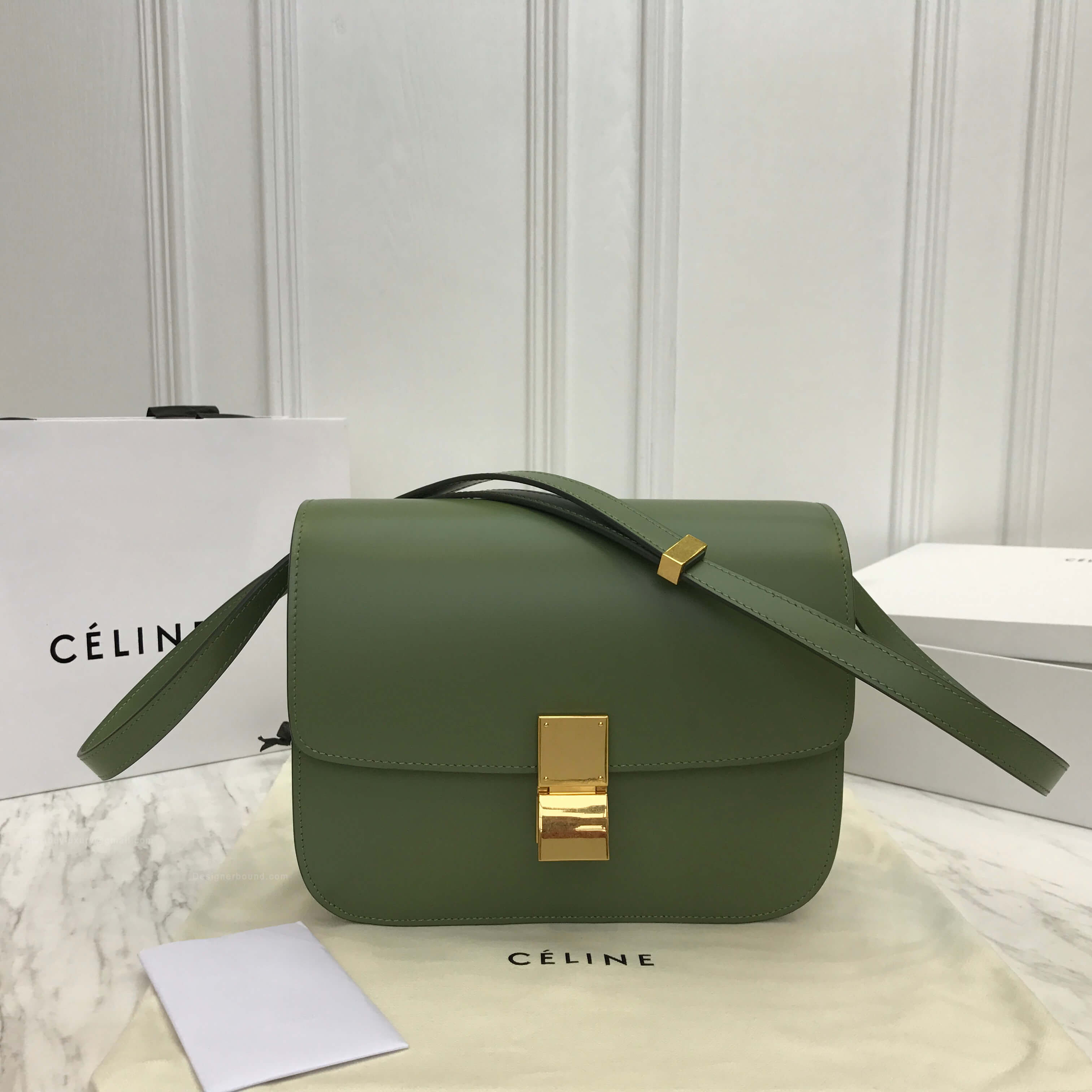 Celine Classic Box Bag Medium in Olive Liege Calfskin