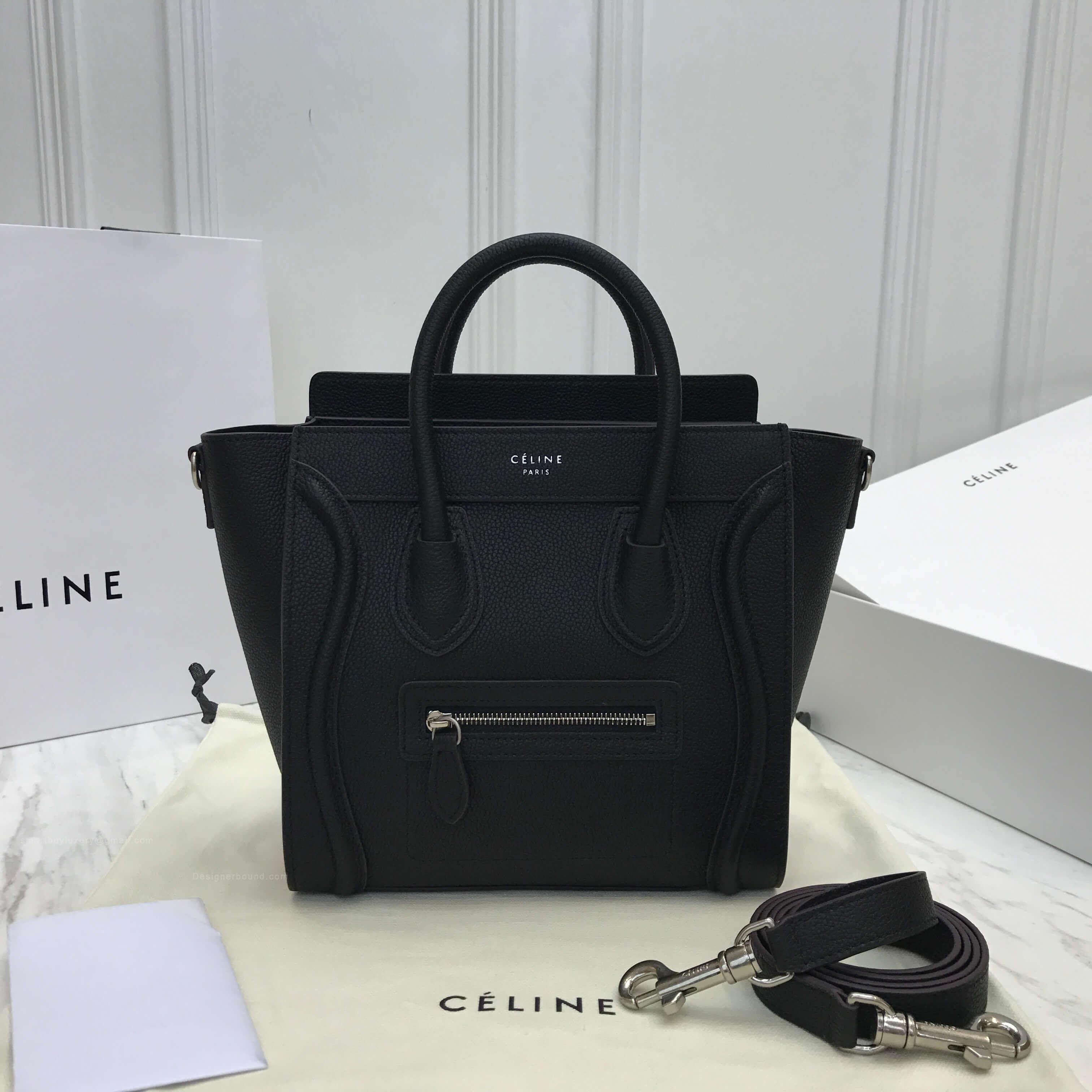 Celine Nano Luggage Handbag in Black Grained Calfskin SHW d5bec9de0a669