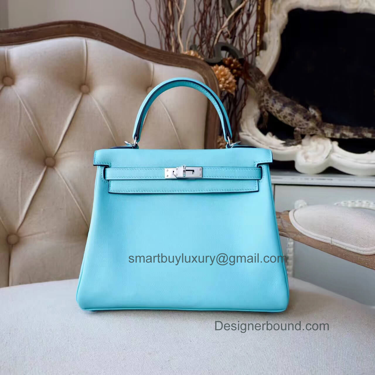 Hermes Kelly 25 Bag in 3p Blue Atoll Swift PHW
