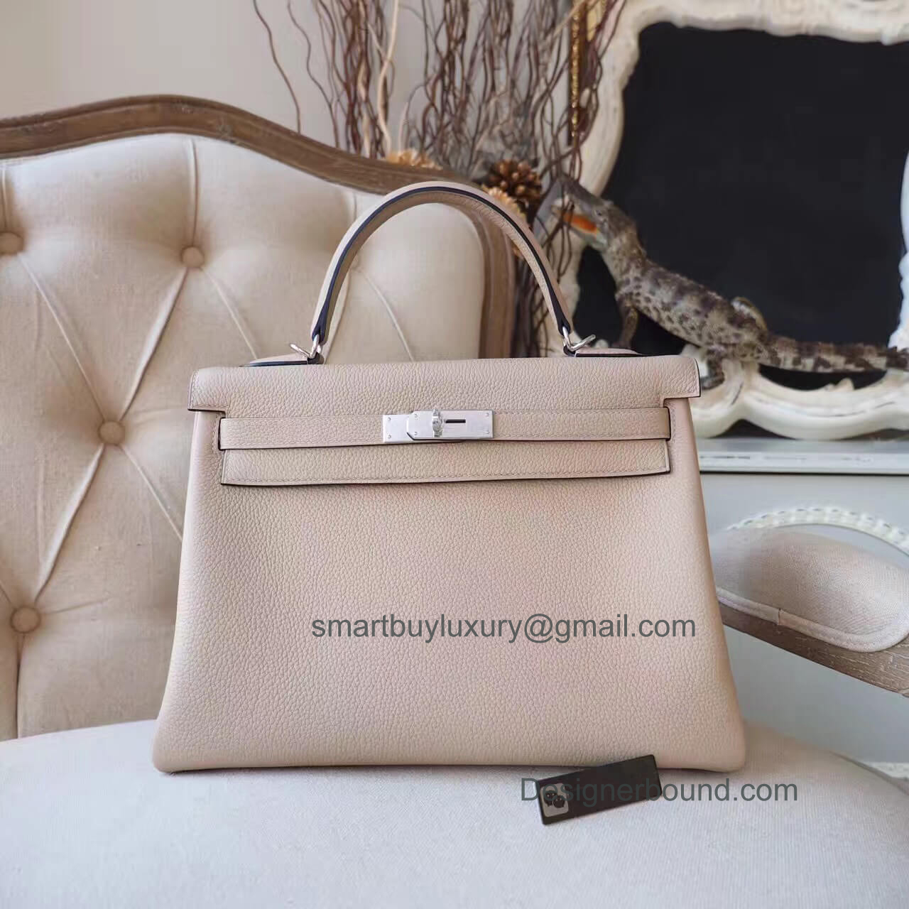 Hermes Kelly 32 Bag in s2 Trench Togo PHW