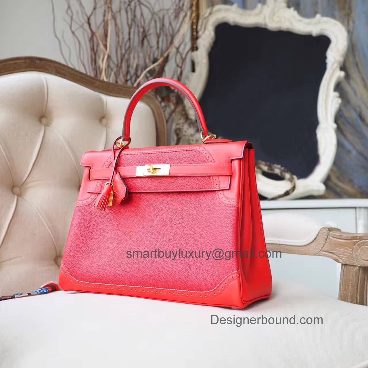 Hermes Kelly 32 Bag Ghillies in s5 Rouge Tomate Togo PHW