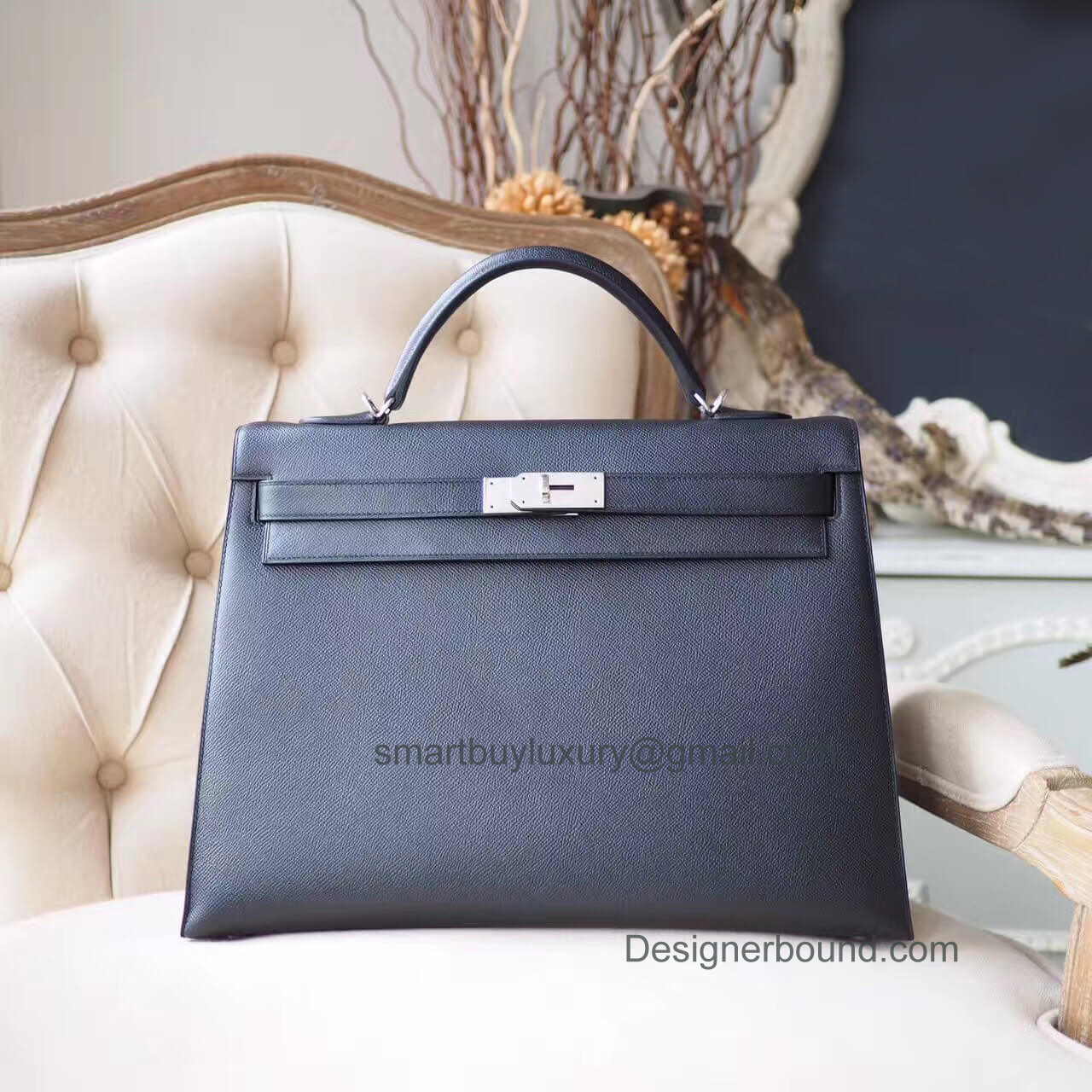 Hermes Kelly 40 Bag in ck89 Noir Epsom PHW