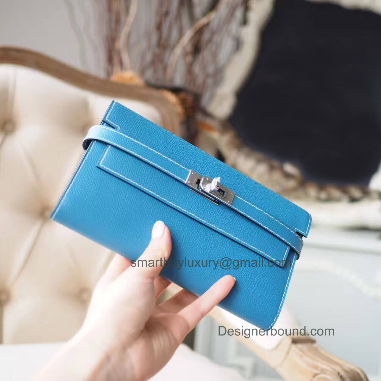 Hermes Kelly Cut 31 Clutch in ck75 Blue Jean Epsom PHW