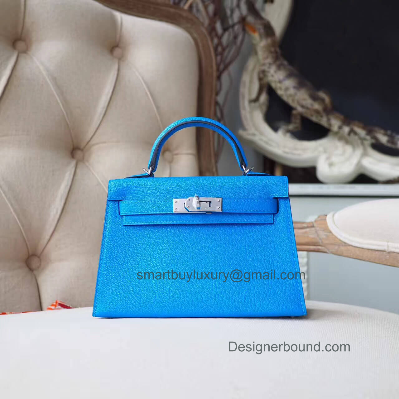 Hermes Mini Kelly II Bag in 7t Blue Electric Chevre PHW