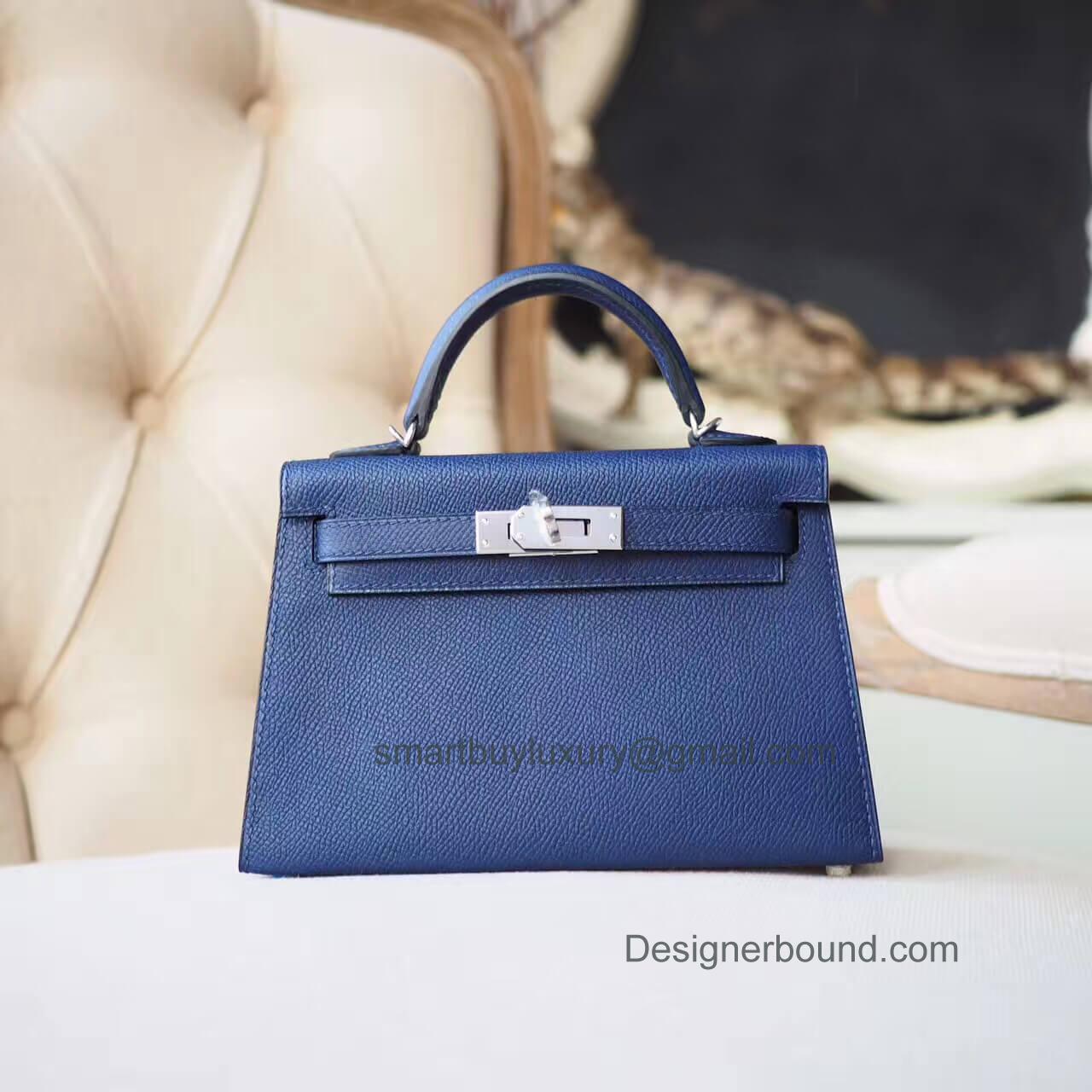 66d7c5052cf Hermes Mini Kelly II Bag in ck73 Blue Saphir Epsom PHW