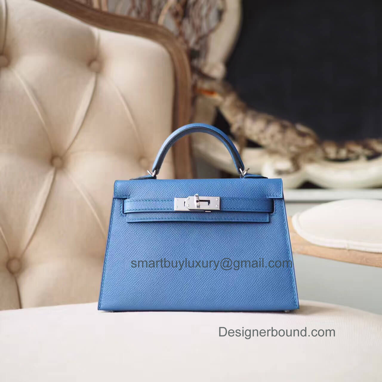b953c7b8497 Hermes Mini Kelly II Bag in r2 Blue Agate Epsom PHW - Hermes Replica