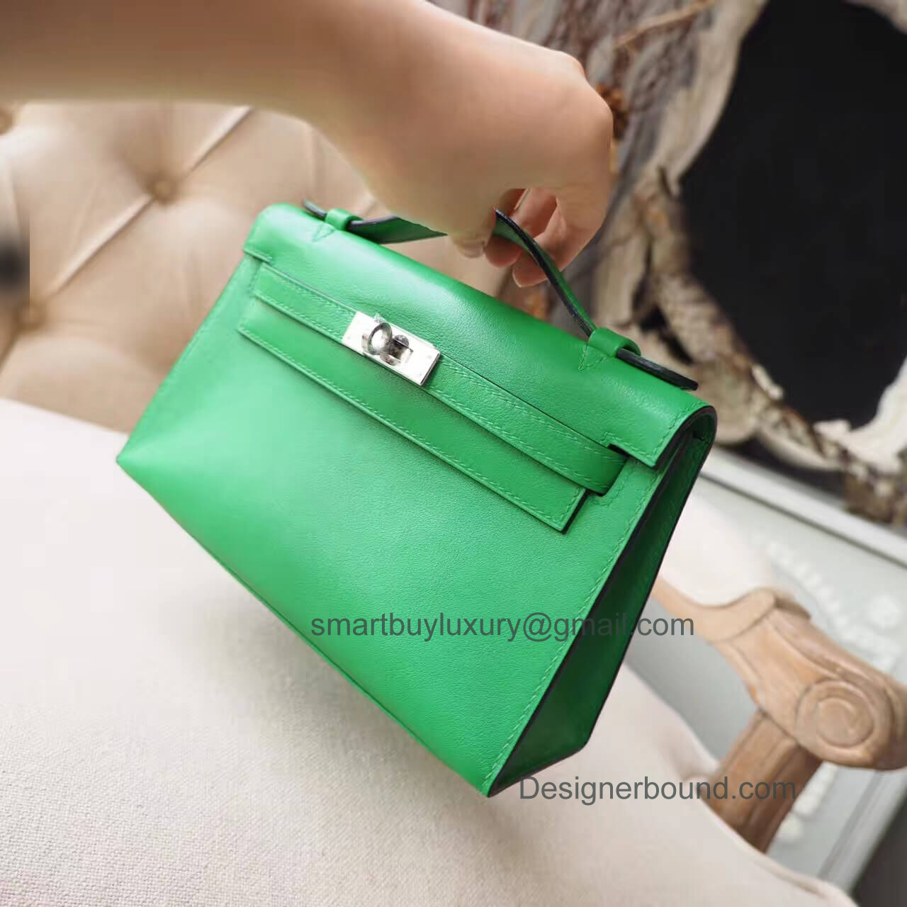 Hermes Mini Kelly 22 Pochette Bag in 1k Bambou Swift PHW