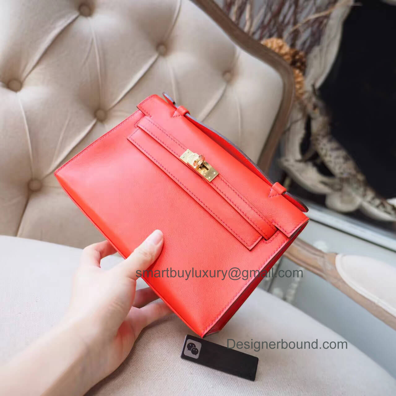 Hermes Mini Kelly 22 Pochette Bag in 8v Poppy Orange swift GHW