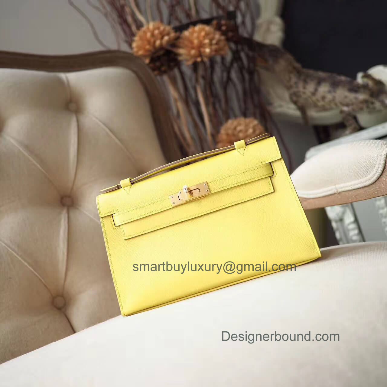 Hermes Mini Kelly 22 Pochette Bag in c9 Foufre Epsom GHW