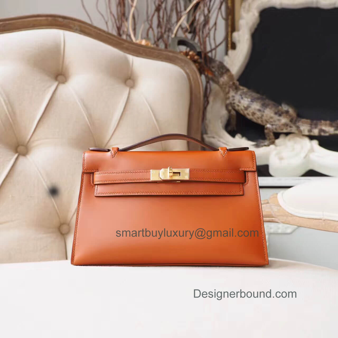 Hermes Mini Kelly 22 Pochette Bag in ck35 Gold Box GHW