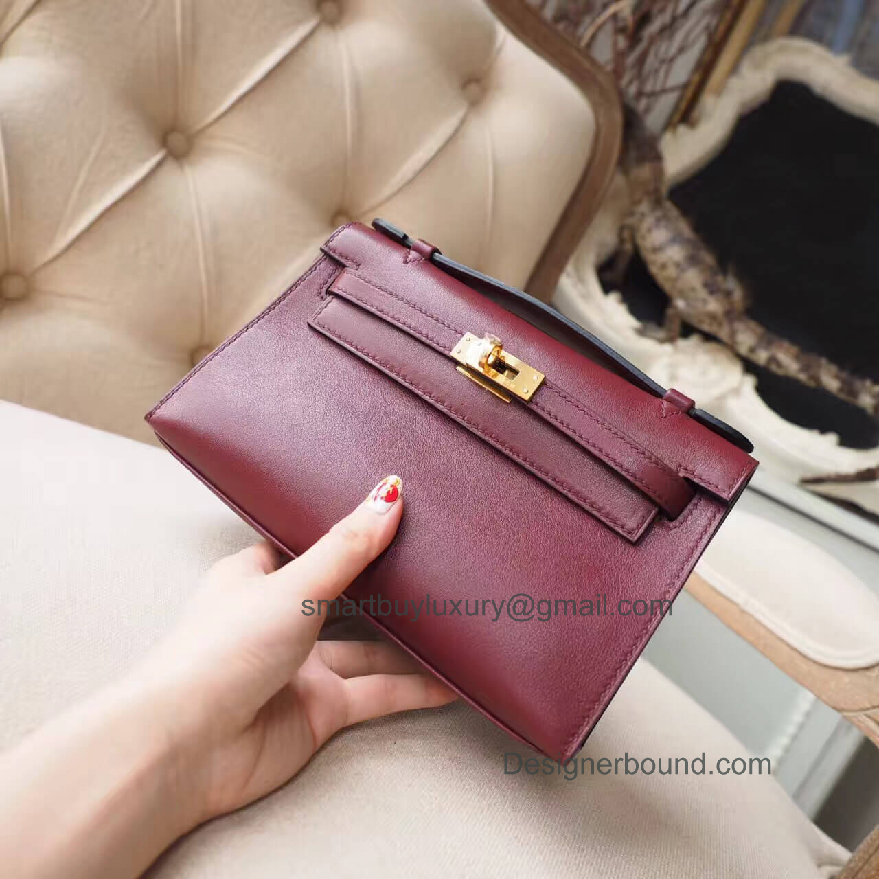 Hermes Mini Kelly 22 Pochette Bag in ck55 Rouge H Swift GHW