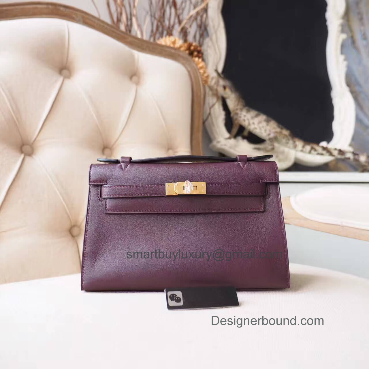 Hermes Mini Kelly 22 Pochette Bag in ck58 Prune Swift GHW
