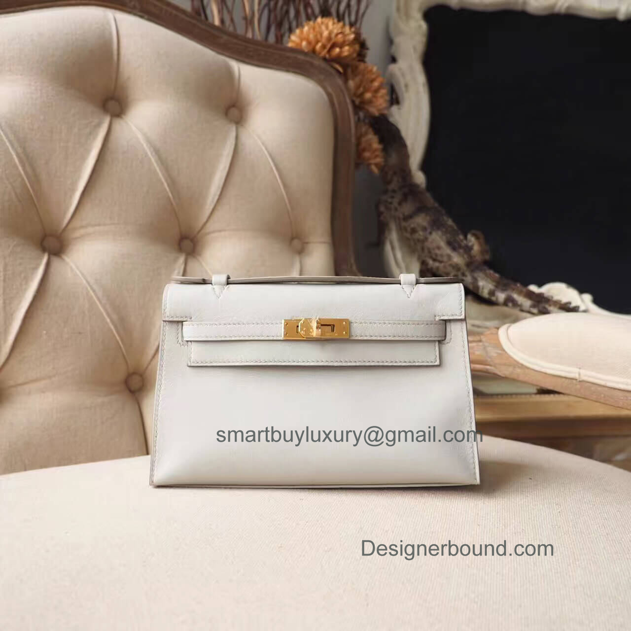 Hermes Mini Kelly 22 Pochette Bag in ck80 Pearl Grey Swift GHW