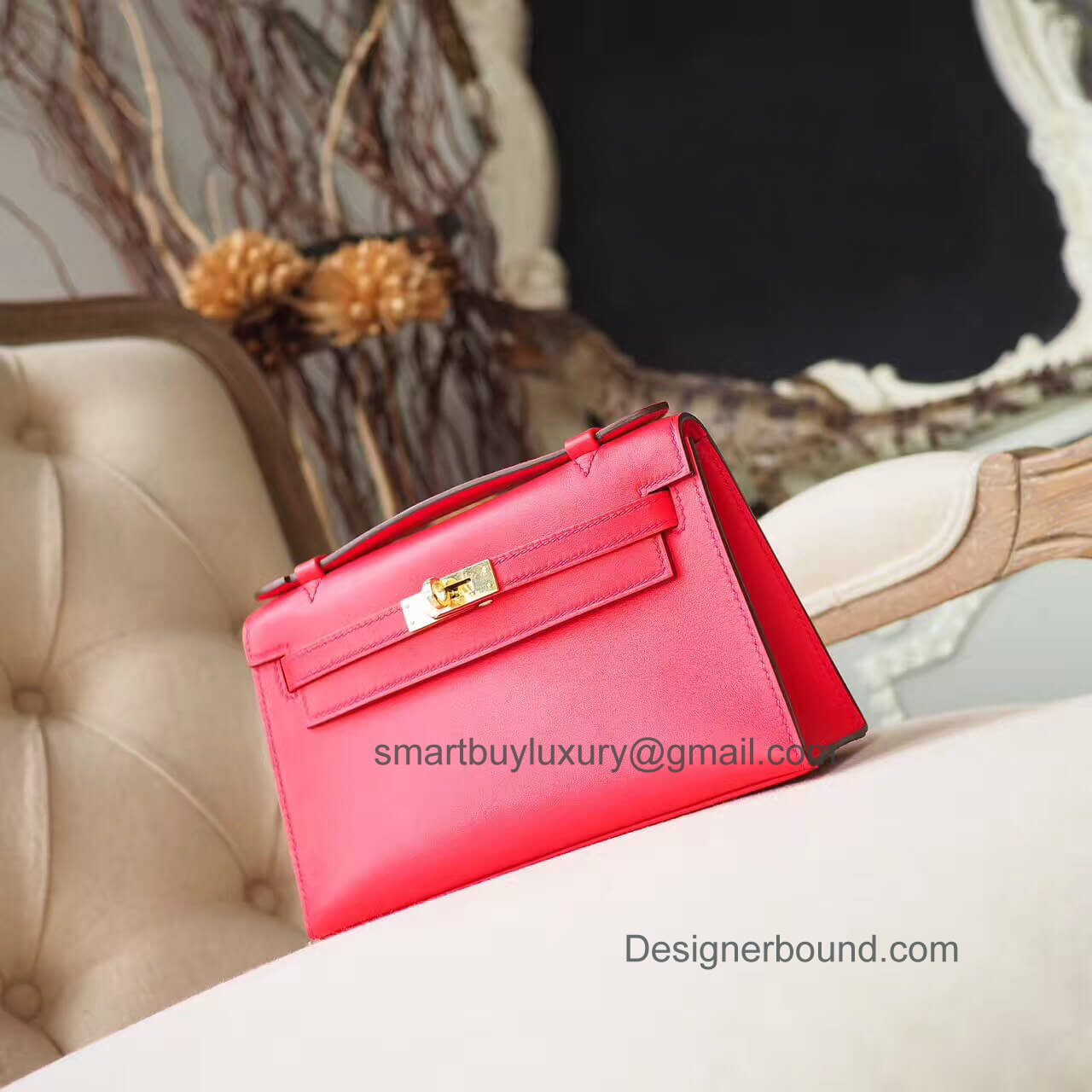 Hermes Mini Kelly 22 Pochette Bag in s5 Rouge Tomate Swift GHW