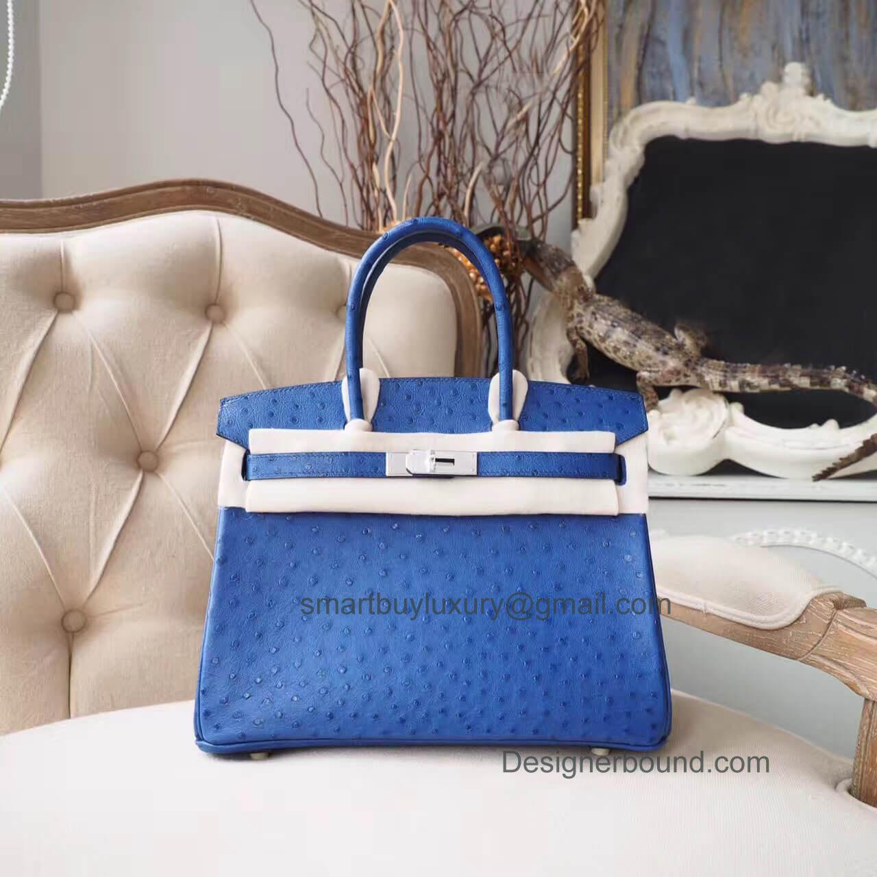 0045623c18 Hermes Birkin 30 Handbag in ck77 Blue Iris Ostrich PHW - Hermes Replica