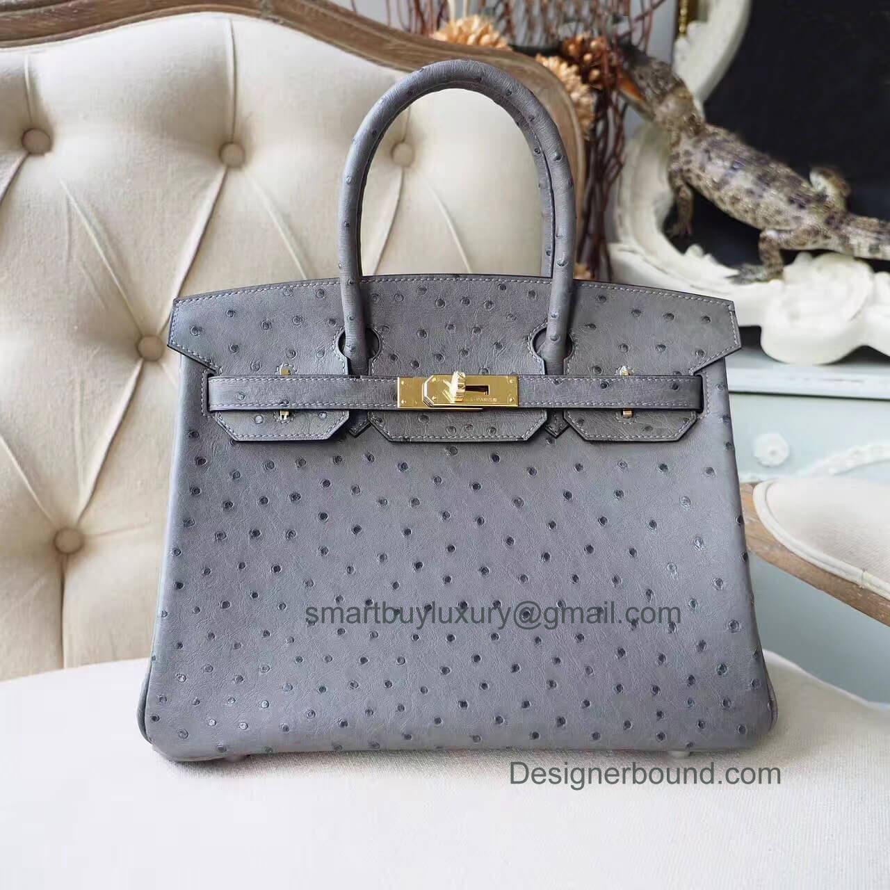 3bbb2cd644ea Hermes Birkin 30 Handbag in ck82 Gris Agate Ostrich GHW - Hermes Replica