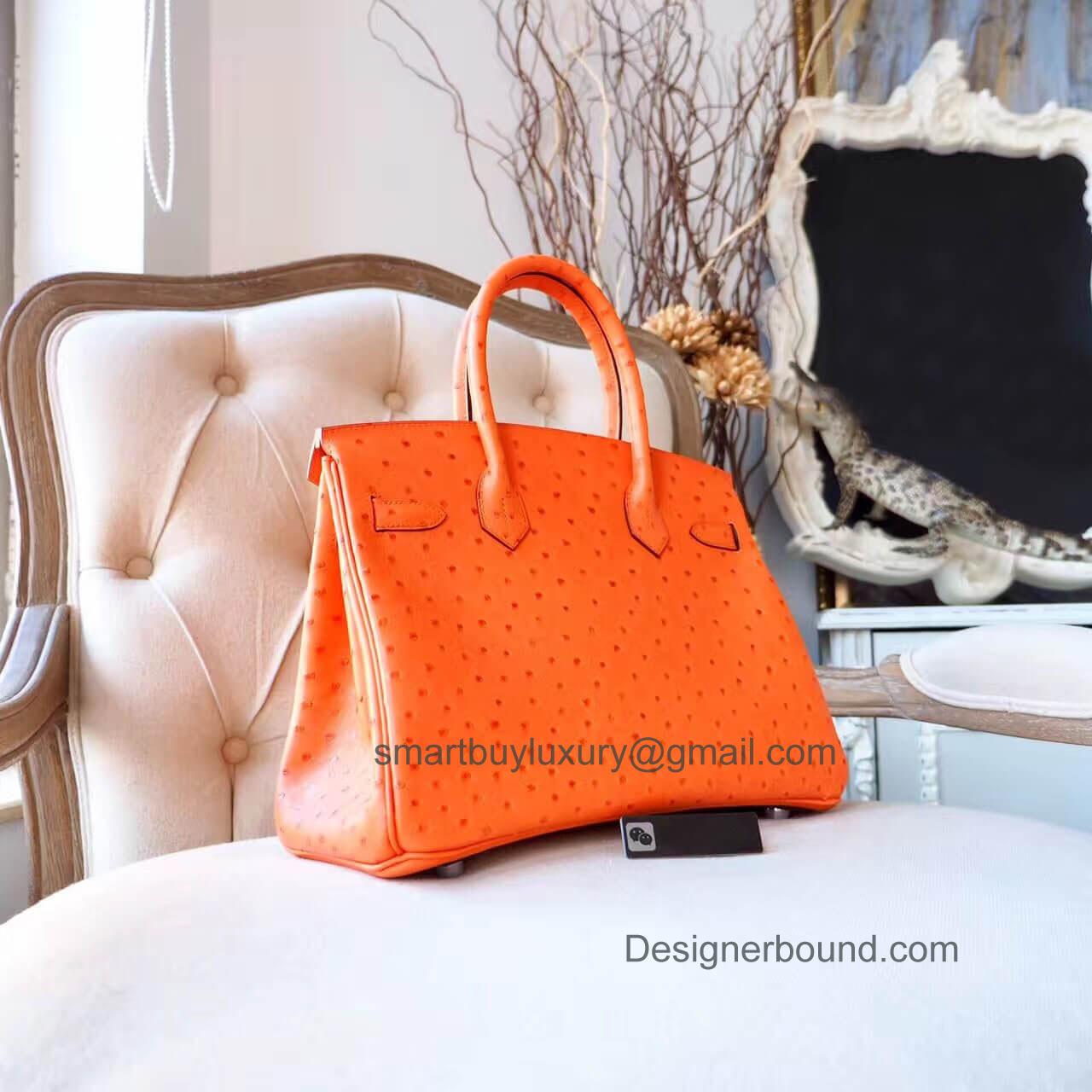 854bc3f293db Hermes Birkin 30 Handbag in ck93 Orange Ostrich PHW - Hermes Replica