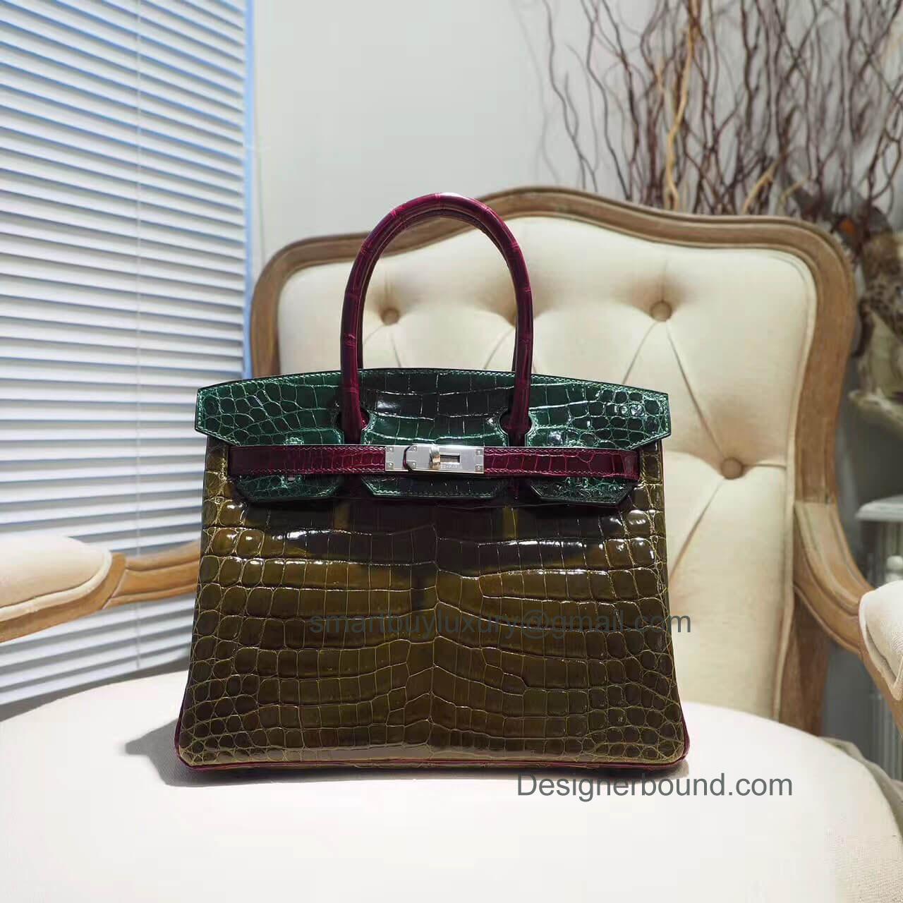 34082b3c03 Hermes Birkin 30 Bag in Tricolored Vert Fonce Shiny Nile Croc PHW