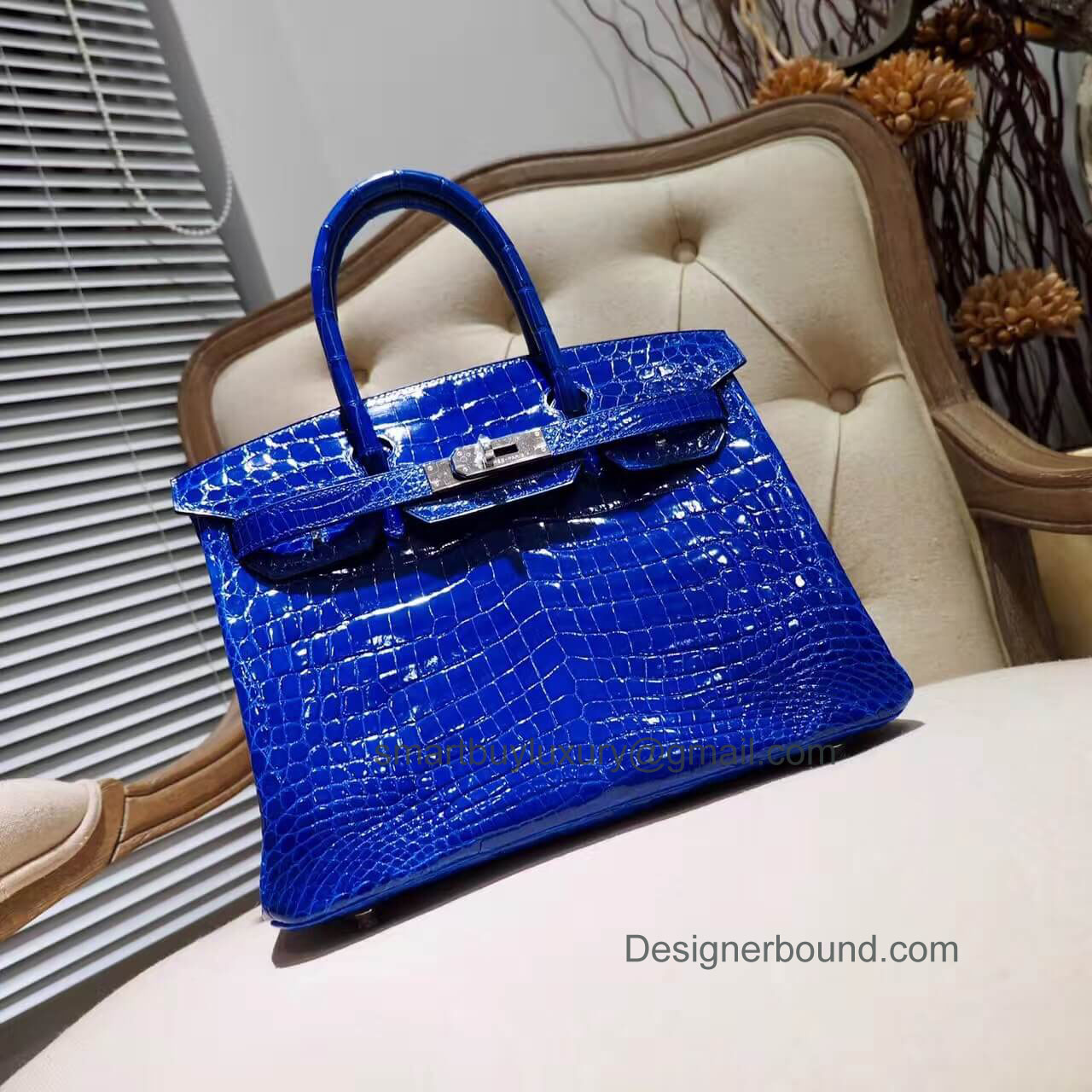 Hermes Birkin 30 Bag in 7t Blue Electric Shiny Nile Croc PHW