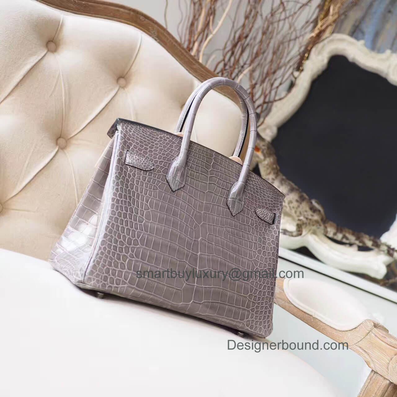 ab6a2340891 Hermes Birkin 30 Bag in Gris Tourterelle Shiny Porosus Croc PHW - Hermes  Replica