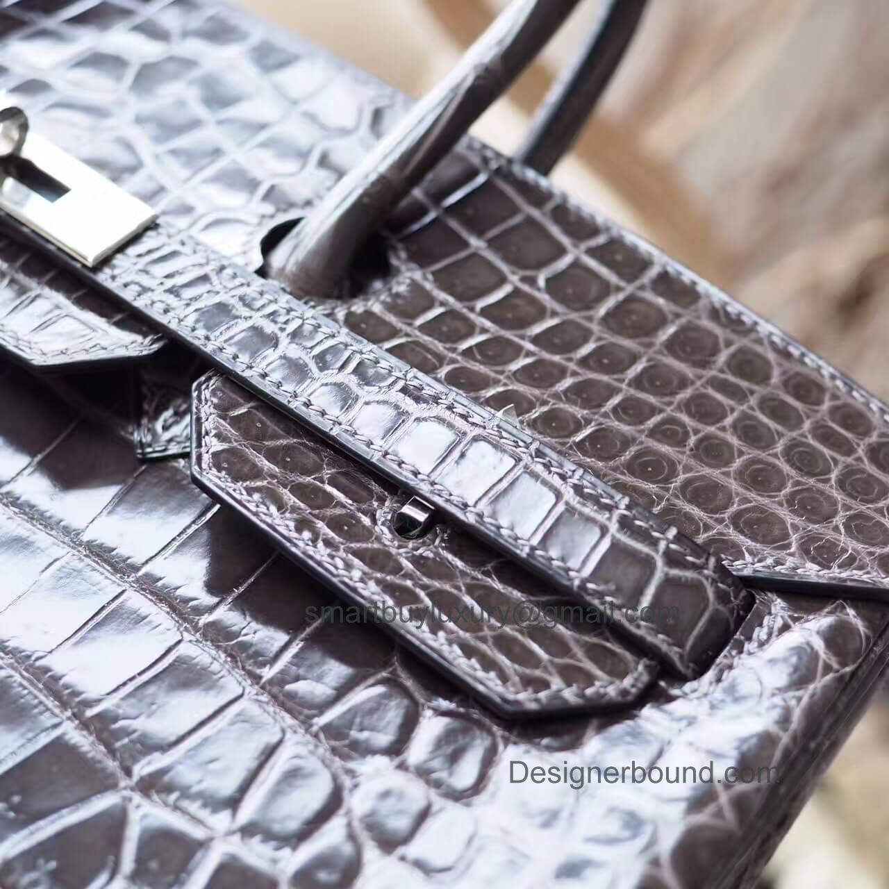 5d2aa320bbb2 Hermes Birkin 35 Bag in cc88 Graphite Shiny Porosus Croc PHW. HERMES ...
