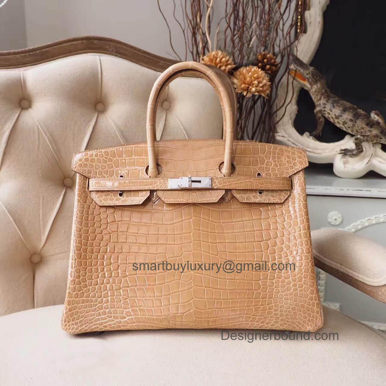2abbcf1295 Hermes Birkin 35 Bag in ck14 Beige Shiny Porosus Croc PHW