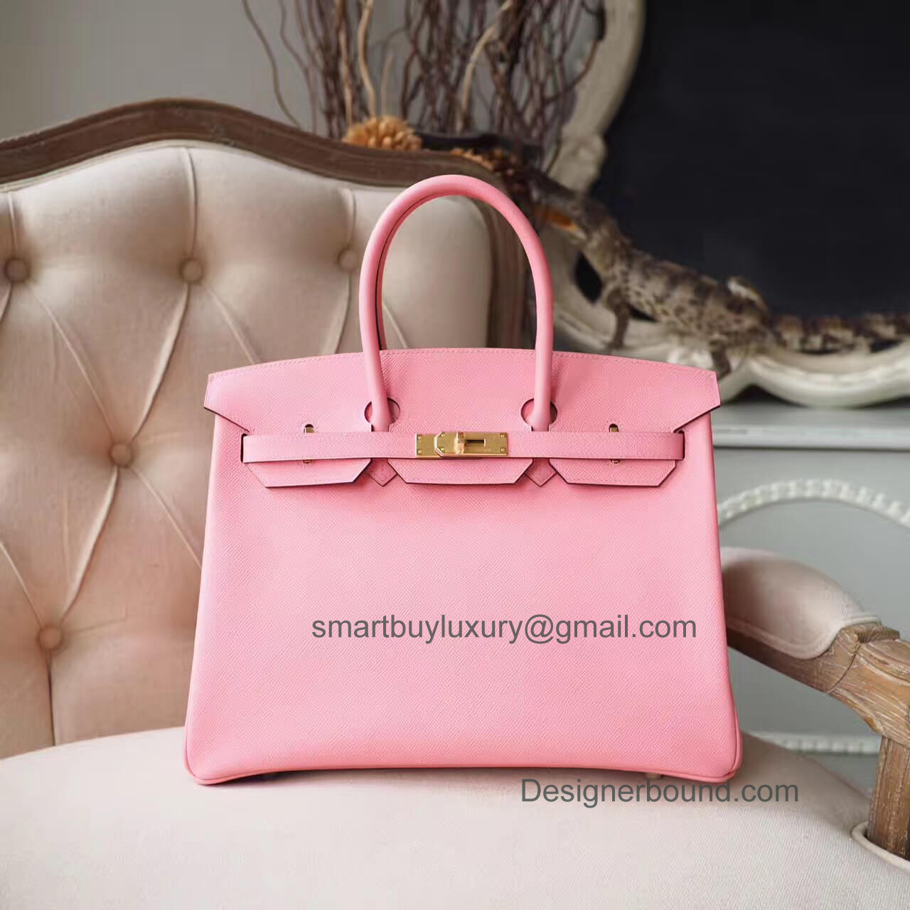 Hermes Birkin 35 Purse in 1q Rose Confetti Epsom GHW