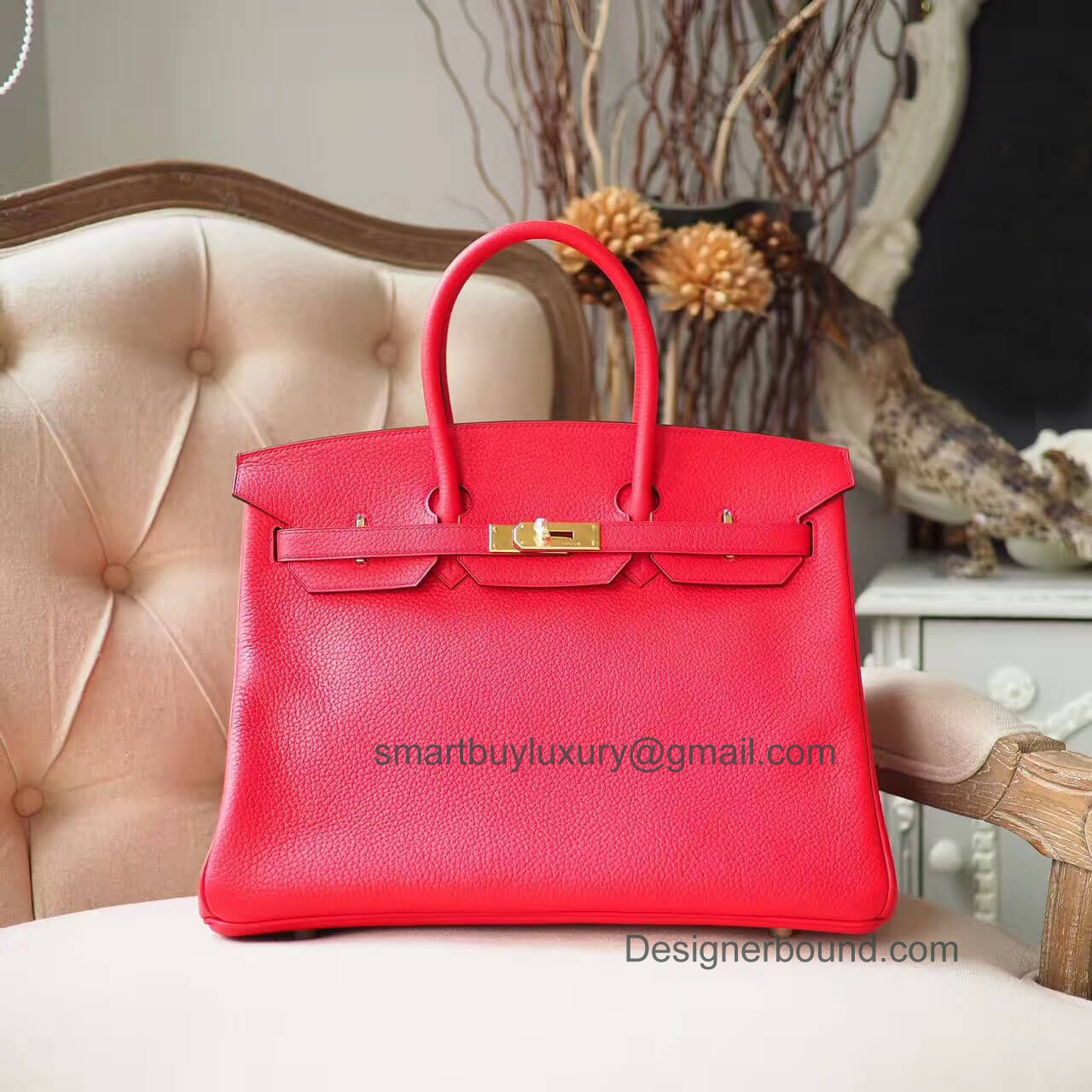 Hermes Birkin 35 Purse in q5 Rouge Casaque Togo GHW