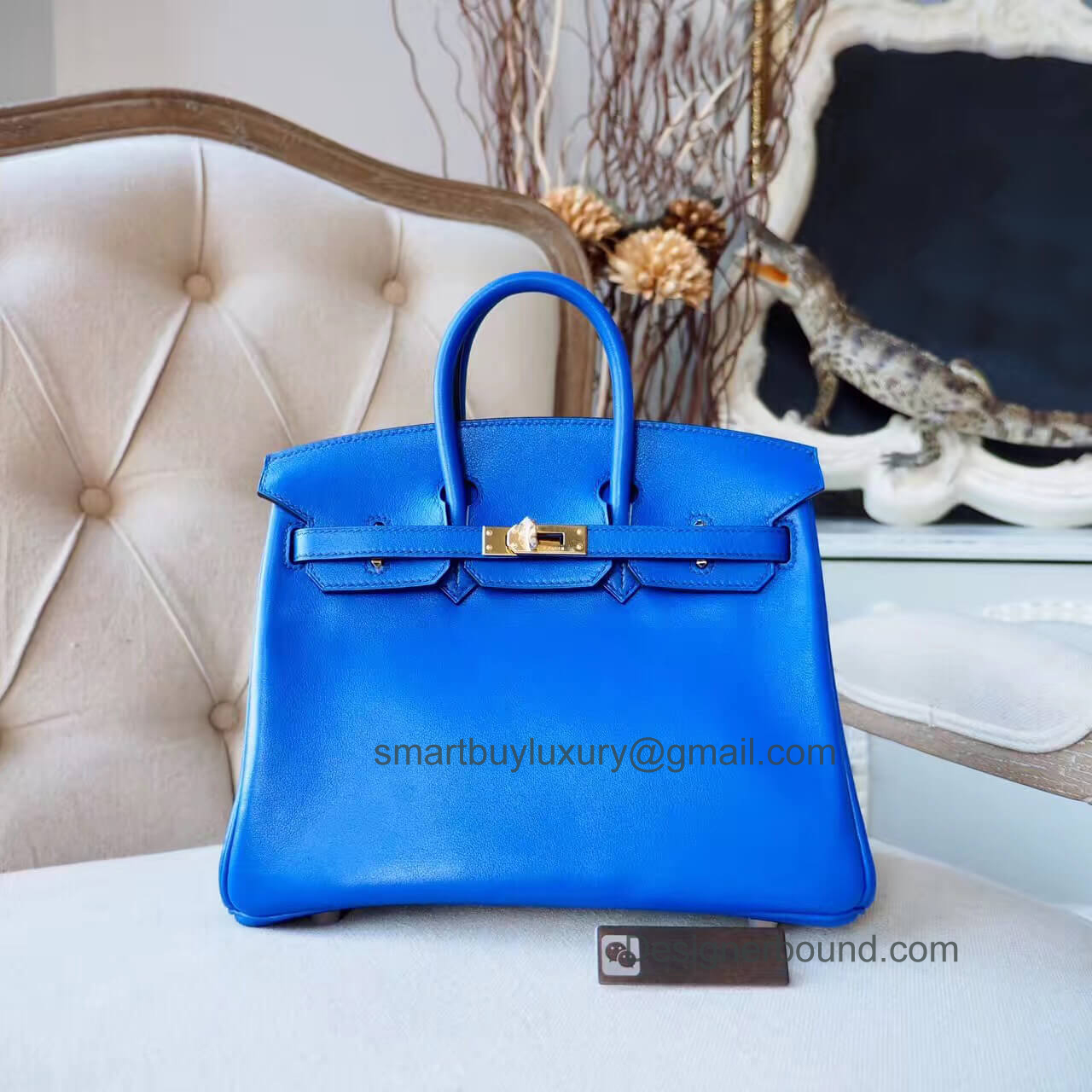 Hermes Birkin 25 Bag in 7t Blue Electric Swift GHW