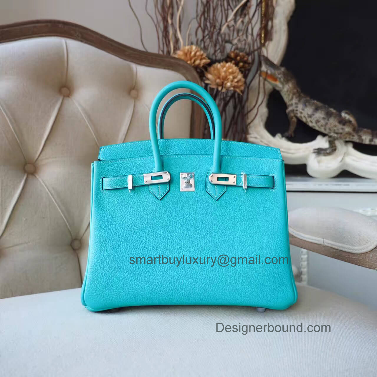 Hermes Birkin 25 Bag in 7v Lagon Togo PHW