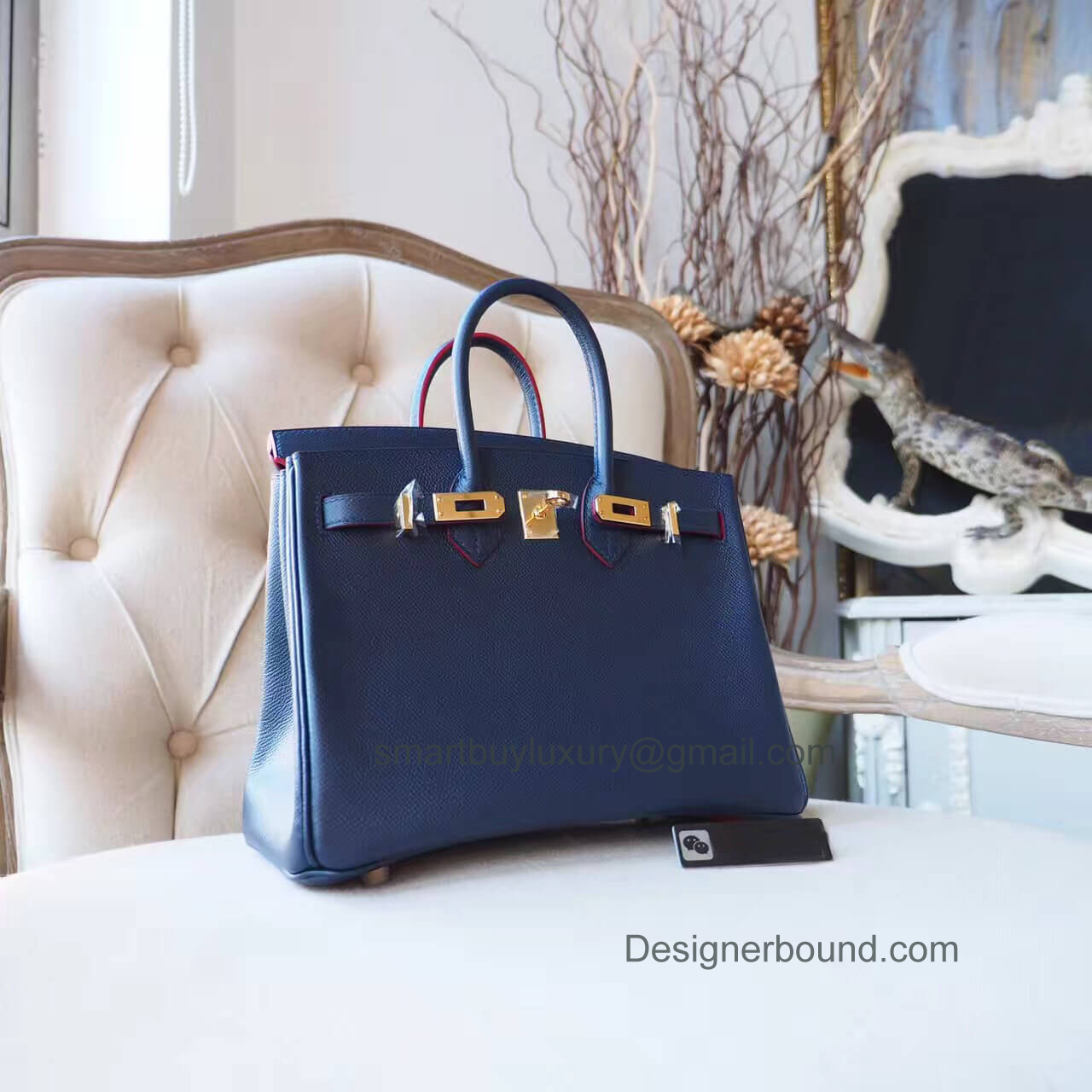 Hermes Birkin 25 Bag in ck76 Blue Indigo Epsom GHW Red Pile