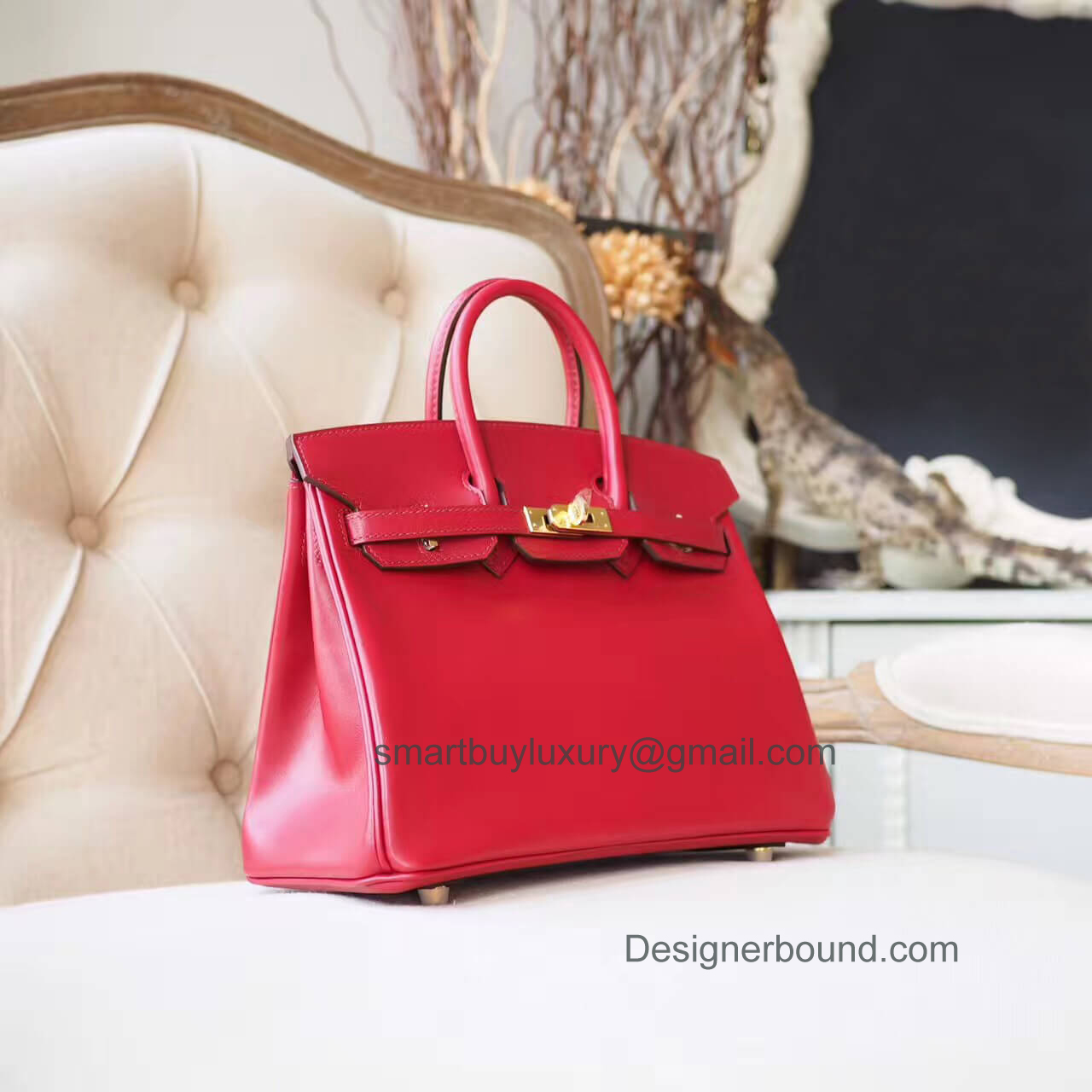 Hermes Birkin 25 Bag in b5 Ruby Tadelakt GHW