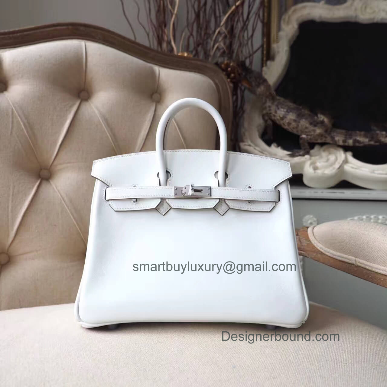 Hermes Birkin 25 Bag in cc10 Craie Swift PHW