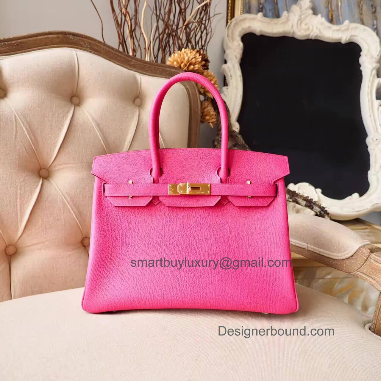 4ea825b5b74c Hermes Birkin 30 Handbag in Bicolored 5r Rose Shocking Chevre Myzore GHW ...