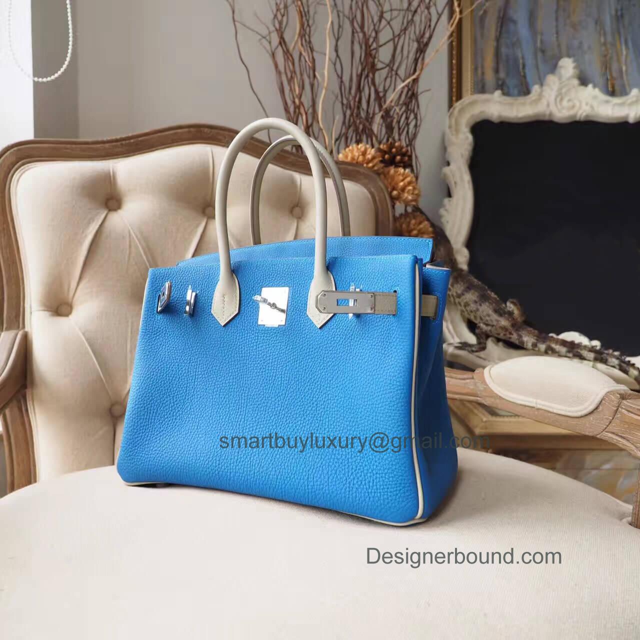 2c7f56046379 Hand Stitched Birkin 30 Bag in Bicolored ck76 Blue Indigo Shining ...