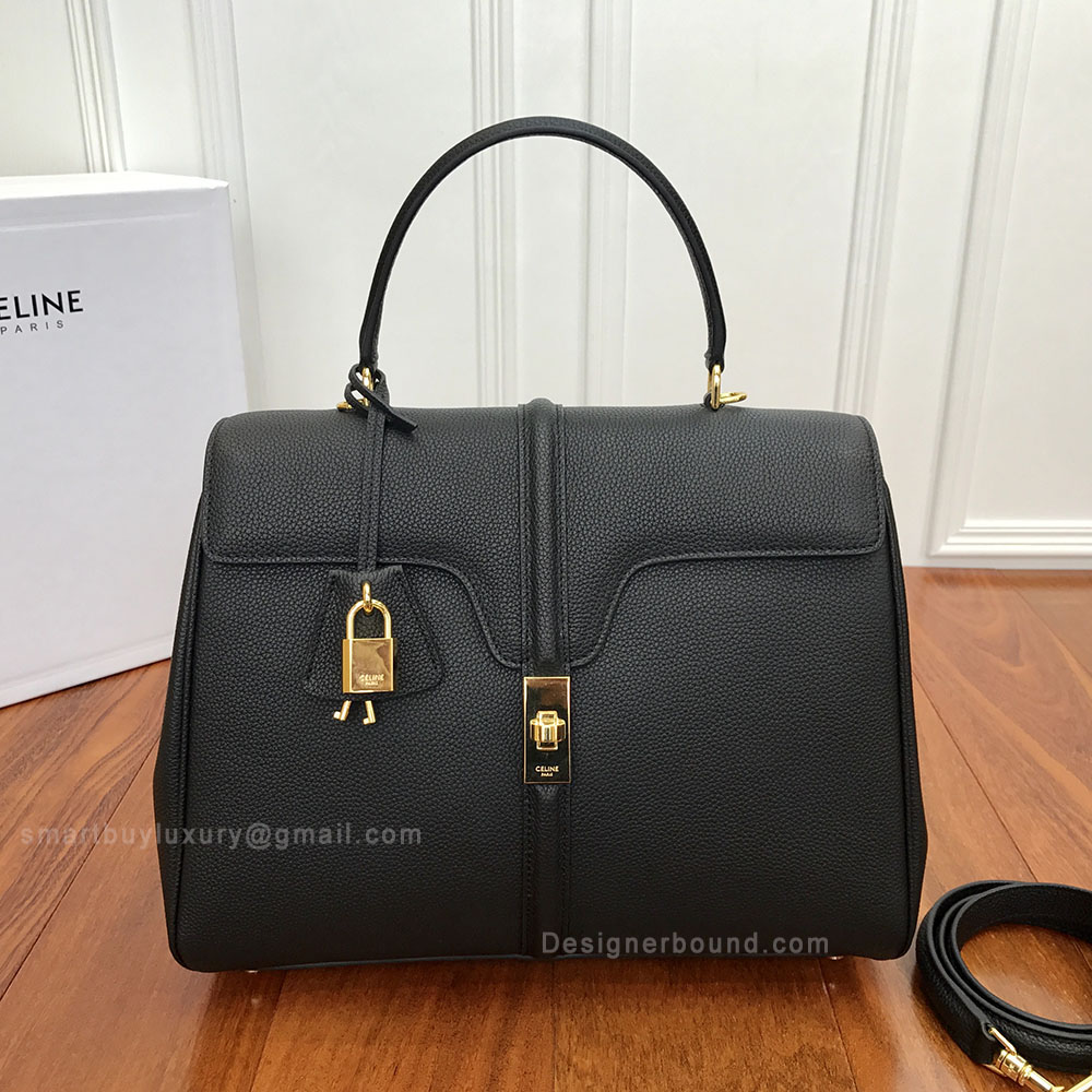 041a44b013b9 Celine Medium 16 Bag in Black Grained Calfskin