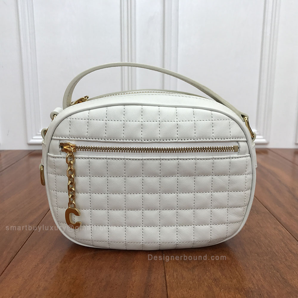 Celine Small C Charm Bag in White Quilted Calfskin
