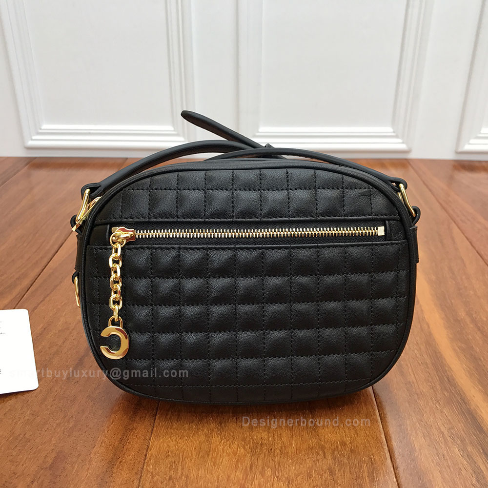 Celine Small C Charm Bag in Black Quilted Calfskin