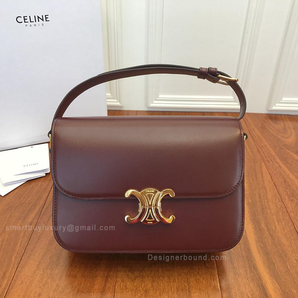 Celine Medium Triomphe Bag in Light Burgundy Shiny Calfskin b59eb602d3401