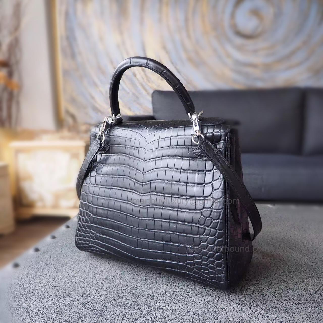 482fe63acf8d ... where can i buy replica hermes kelly 28 bag handmade in ck89 noir matte  niloticus croc