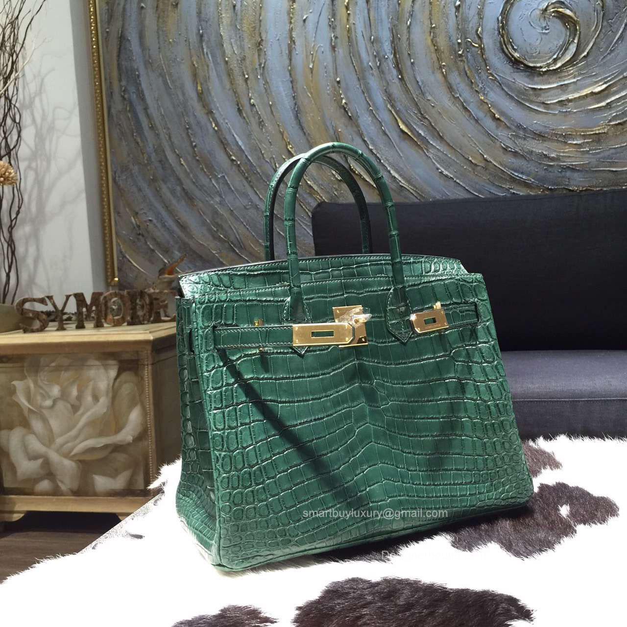 e4e414668d2a Hermes Birkin 30 Bag Vert Fonce Crocodile Leather Handstitched Gold hw -