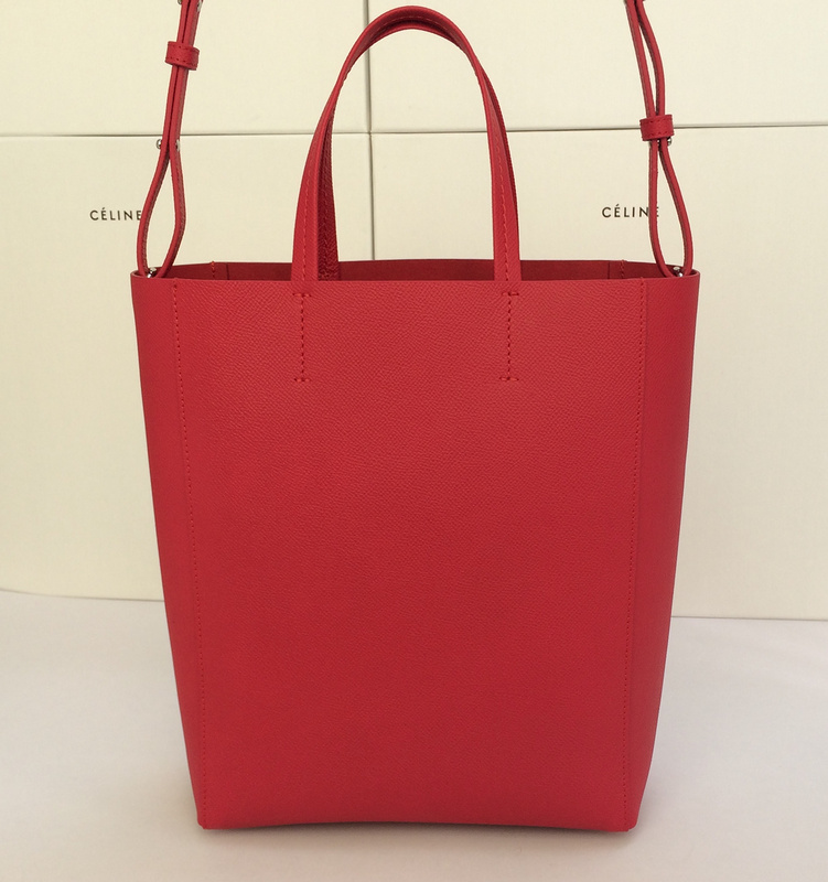 celine mini luggage tote bag price - Celine 2015 Small Vertical Cabas Tote In Red Grainy Calfskin -